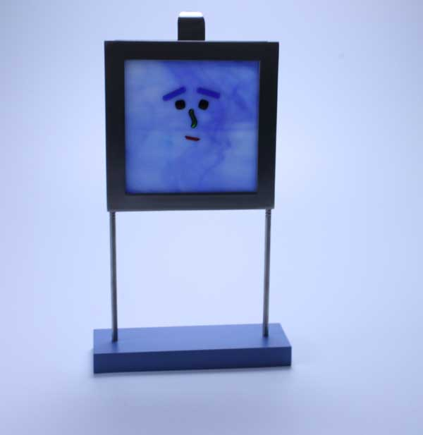 Mr Blues Man -- recycled picture frame with blue face
