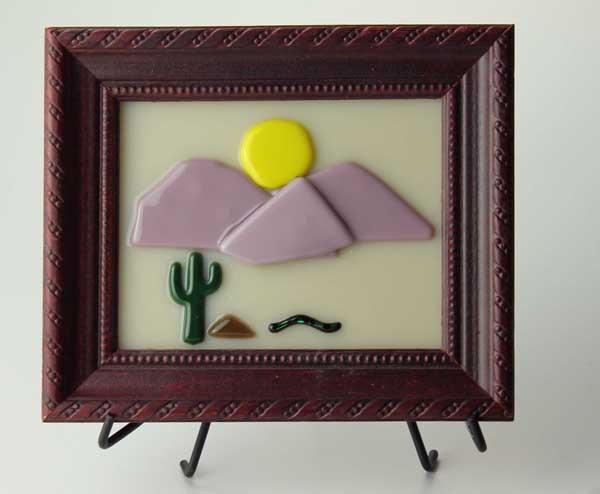 Desert Scene no. 2, fused glass picture