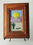 Desert Scene no. 3, fused glass picture