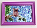 Owl No. 1, fused glass/frit