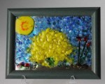 Palo Verde in Bloom, fused glass over mirror by Diane C. Taylor