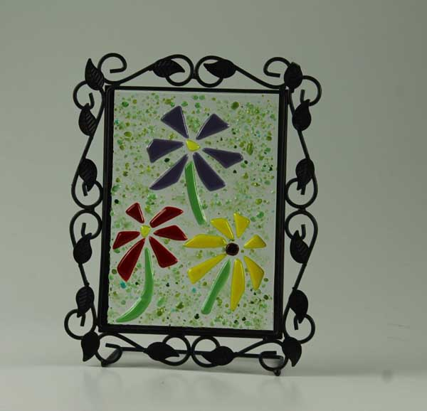 Les Fleurs No. 2, fused glass over mirror, by Diane C. Taylor