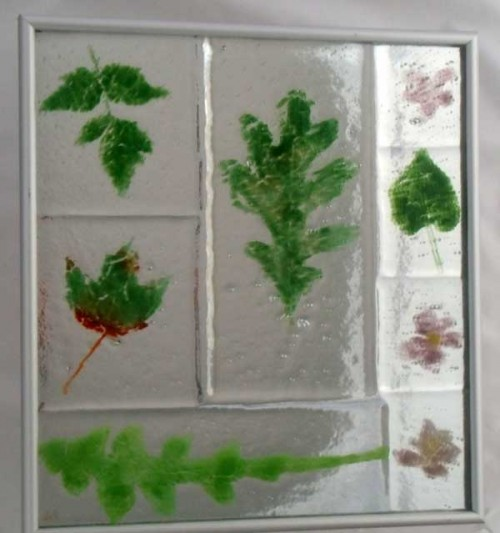 RVA Garden, fused glass mounted over mirror, by Diane C. Taylor