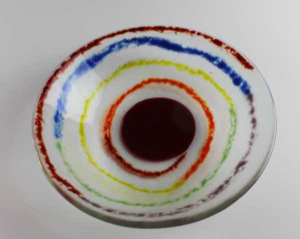 Coil of Color fused glass bowl, by Diane C. Taylor