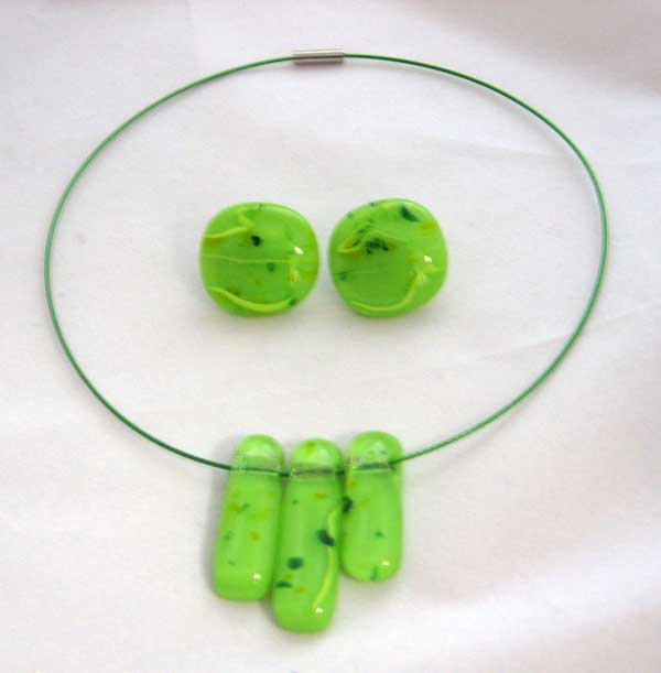 3-pc Lime green necklace, on matching magnetic neckwire, $35.00; matching pierced earrings on surgical steel posts, $16.00