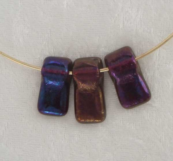 3-pc cranberry iridized necklace on gold-cplored wire, $33.00
