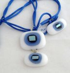 2-piece necklace, white with light blue and blue dichroic center, $30.00