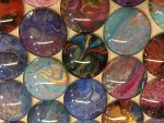 Many otherworldly ZenGlass pieces, by Sharon Evans, Studio S'evans